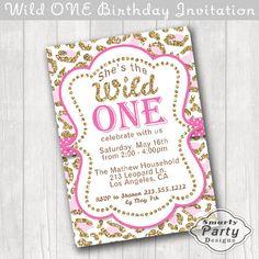 Wild ONE 1st Birthday Invitation Invite Cheetah Leopard Pink