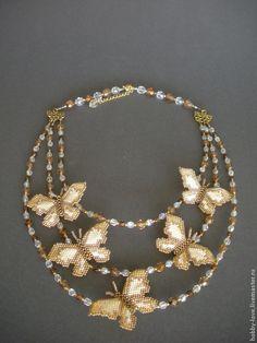 """Купить Колье """"Бабочки"""" - золотой, колье с бабочками, колье из бисера, украшение на шею, украшение с бабочками"""
