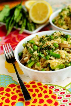 Risotto with spring peas and asparagus