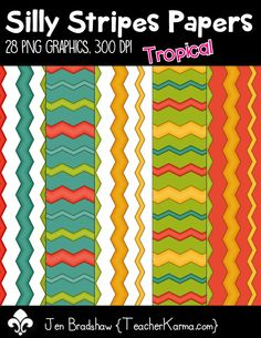 Silly Stripes Papers clip art.  These ** tropical color ** digital papers are just perfect for TpT sellers, classroom organization, and scrapbook designers.  Commercial and personal use is ok.  TeacherKarma.com