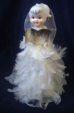 Vintage Christmas Porcelain Feather Angel Tree Toppers Ornament Howard Holt | eBay