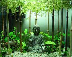 Buddha Figur Bambus Stangen Goldfisch Aquarium