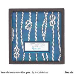 Beautiful watercolor blue green rope knots custom gift box