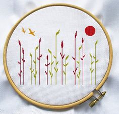 Counted cross stitch pattern, Instant Download, Free shipping, Cross-Stitch PDF, Grass