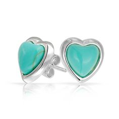 Synthetic Turquoise Heart Stud Earrings 925 Sterling Silver