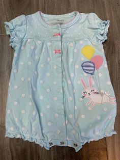 BABY GIRLS NEW NWT 0-3 MONTHS BLUE LONG SLEEVE SNAP ONE PIECE BUNNY CHILDRENS PL