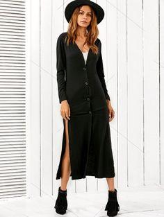 Long Fitting Buttoned Cardigan BLACK: Sweaters | ZAFUL