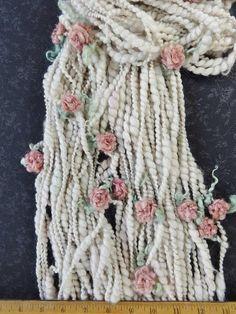 Handspun Bulky Art Yarn with Felted Flowers 50 yards cream