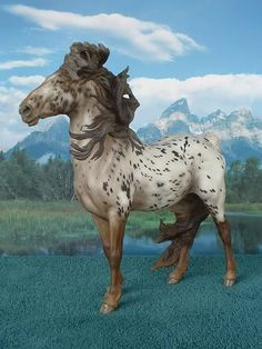 """Semi-leopard appaloosa """"Stormwatch"""" resin painted by Sommer Prosser. Limited edition resin sculpture by Sarah Minkiewicz-Breunig."""