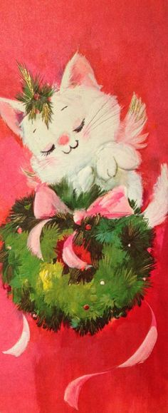 Vintage Kitty Christmas Card ♺ Kathy H Cat Christmas Cards, Old Time Christmas, Christmas Kitten, Christmas Graphics, Old Fashioned Christmas, Christmas Scenes, Vintage Christmas Images, Retro Christmas, Vintage Holiday