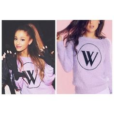 Wildfox Dream House Logo Party Sweater Let's party. This sweater features a Wildfox logo embroidered across a super-soft and fuzzy loose angora knit. Scoop neck and a roomy body contrasted by riibbed, banded hems  56% Acrylic, 34% Nylon, 10% Wool; color is Dream House Pink as pictured on Ariana Grande and in the following two pictures.    **cover photo from Google, other photos are stock photos and show true pink color. Wildfox Sweaters