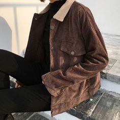 Jolly Club - Corduroy Button Jacket Kfashion Korean fashion Ulzzang Aesthetic Fashion Jolly Club - C Winter Outfits, Cool Outfits, Casual Outfits, Fashion Outfits, Fashion Fashion, Hijab Casual, Ootd Hijab, Fashion Clothes, Aesthetic Fashion