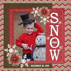 """Cute """"Snowman"""" Scrapbooking Page...Mommy To A Miracle - Scrapbook.com."""