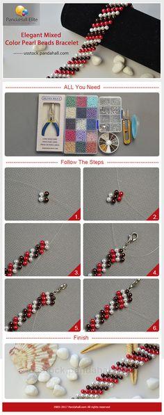 Pandahall Elite DIY elegant mixed color pearl beads bracelet - Do it my self Beaded Bracelet Patterns, Beading Patterns, Beaded Bracelets, Bead Jewellery, Seed Bead Jewelry, Jewelry Crafts, Handmade Jewelry, Do It Yourself Design, Armband Diy