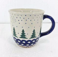 Boleslawiec Polish Pottery Green Evergreen Trees Blue Coffee Mug Cup 10 oz ZCB