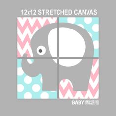 Baby Girl Nursery Stretched Canvas Art Prints Set