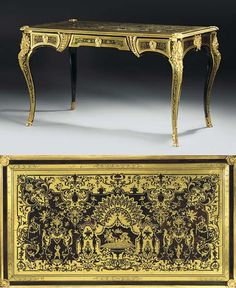 A FRENCH BRASS-INLAID TORTOISESHELL BOULLE MARQUETRY BUREAU