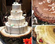 Tree Trunk Cake Stand...at first I didnt like this idea but the more I see it the more I love it! Plus when you take it home you can hang it up!!!