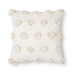 Everyone will want the Cream Pom Dot Square Throw Pillow from Nate Berkus for their own. This comfortable polka dot accent pillow has a thick texture in small doses. Cream Couch, Cream Pillows, White Throw Pillows, Accent Pillows, Small Pillows, Nate Berkus, Decor Pillows, Bed Pillows, Cushions