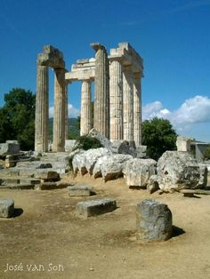 Temple of Nemean Zeus: 'Set in a fertile valley of the Elissos River and surrounded by fields of vines, it is a tranquil and attractive spot.' The Peloponnese: the Bradt Guide www.bradtguides.com