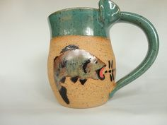 Stoneware Mug with Hand Painted Fish by AnniesArtPottery on Etsy, $28.00