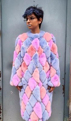 Верхняя одежда ручной работы. Ярмарка Мастеров - ручная работа. Купить Уникальная Шуба Ромбы разноцветная. Handmade. Комбинированный