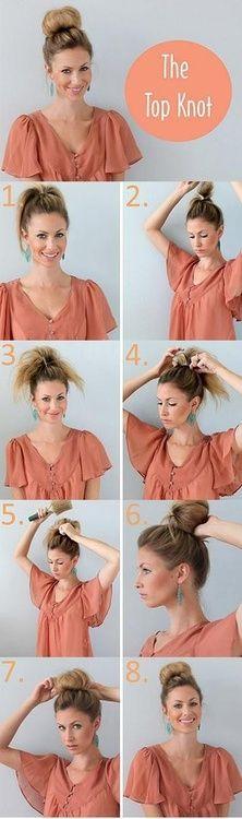top knot bun   Tumblr  for shorter hair