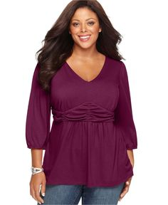 NY Collection Plus Size Top, Three Quarter Sleeve Ruched Empire - Plus Size Tops - Plus Sizes - Macy's
