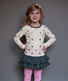 Take a look at this Ivory & Gold Polka Dot Drop-Waist Dress - Infant, Toddler & Girls on zulily today!