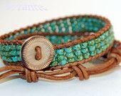 Southwestern ... Double Wrap Premium Leather and Turquoise Picasso TOHO Bead Bracelet, Handmade and Free Shipping