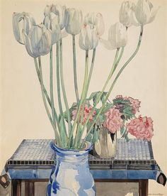 """""""White tulips"""" by Charles Rennie Mackintosh Style: Art Nouveau (Modern) Charles Rennie Mackintosh, Watercolor And Ink, Watercolor Flowers, Watercolour Painting, Painting Art, Art Nouveau, Mackintosh Design, Glasgow School Of Art, Glasgow Girls"""