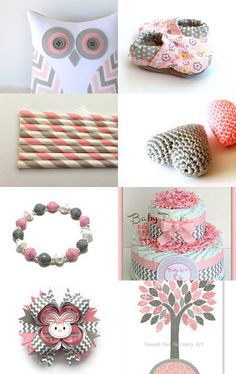 LOVE Pink & Grays together - Bella Bargains Etsy Treasury