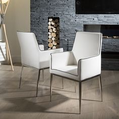 Luxury Set of 2 White Faux Leather Designer Dining / Carver Chairs 08