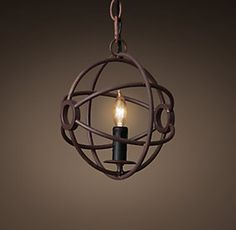 Iron Ball Pendant - Chandeliers | Restoration Hardware, nice scale for nook