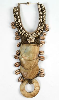 Indonesia ~ Irian Jaya | Pectoral from the Asmat people | Natural fibres and shells