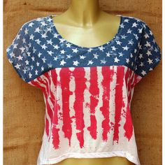 I Love America - Women's vintage American Flag Tshirt , Free size ($36) ❤ liked on Polyvore featuring tops, t-shirts, vintage t shirts, vintage shirts, i heart t shirts, t shirts and american flag shirt