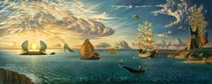 "Mythology of the Oceans and Heavens (giclee on canvas, 99"" x 39"") Vladimir Kush"