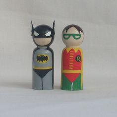 Batman and Robin wooden peg dolls pocket friends