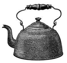 black and white clip art, enamel kettle illustration, vintage kitchen graphics, antique kettle clipart, old catalogue ad