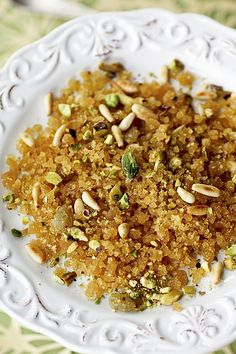 Sometimes, a particular dish can be so memorable that it sticks with you for a long long time. I had this dessert one time when I was . Lebanese Desserts, Lebanese Cuisine, Lebanese Recipes, Indian Desserts, Turkish Recipes, Halva Recipe, Lebanon Food, Arabic Dessert, Arabic Sweets
