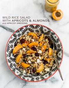 Wild Rice Salad with Apricots & Almonds and Apricot Dressing | www.kitchenconfidante.com