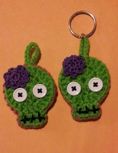 This sugar skull or zombie can be made into a key-chain or zipper ornament. Send me a message with your pick. As always made with love in every stitch!!! Find it at http://needlesandstitches.storenvy.com/