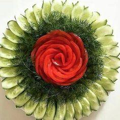 No photo description available. Vegetable Decoration, Vegetable Design, Food Decoration, Salad Design, Food Design, Veggie Art, Fruit Creations, Veggie Platters, Food Art For Kids