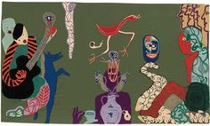 Violeta Parra, El Circo (The Circus), 1961 synthetic fabric embroidered with wool yarn Painting Collage, Painting & Drawing, Paintings, Folk, Sculpture, Art Classroom, Vintage Fabrics, Embroidery Art, Frames