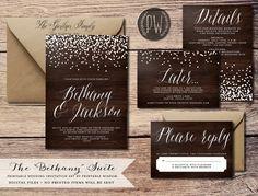 Printable Wedding Invitation Suite wood grain by PrintableWisdom, $45.00