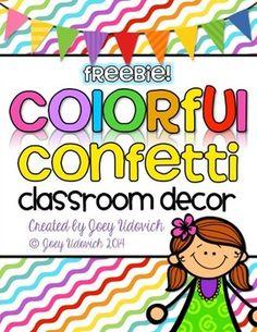 Colorful Classroom Decor FREEBIE