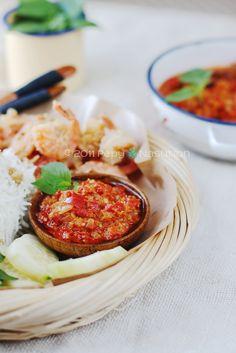 Sambal Bawang Bu Rudy.  It's also known as a Devil Sambal, a Surabayan new favorite shallot sambal to company crispy shrimp