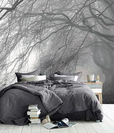 Upgrading Your Bedroom Design for Better Sleep Quality - House & Living Home Bedroom, Modern Bedroom, Bedroom Wall, Master Bedroom, Bedroom Decor, Bedrooms, Bedroom Ideas, Room Wallpaper, Forest Wallpaper