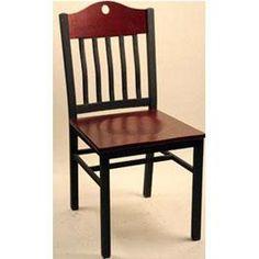 Empire Chair Textured black metal frame. Contrasting mahogany wood seat and back 17x 17 x 33 1/4. Price $89.00. http://www.restaurantfurniturewarehouse.com/restaurant-chairs/metal-chairs/empire-chair.html