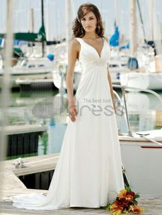 Satin Sexy Deep V-neck Empire Waistline, Slim A line Skirt with Open Sexy Back Summer Beach Wedding Dress - Verna Bridal Dresses Tropical Wedding Dresses, Second Wedding Dresses, Cheap Wedding Dress, Weeding Dress, Second Weddings, Bridal Gowns, Wedding Gowns, Lace Wedding, Wedding Tips